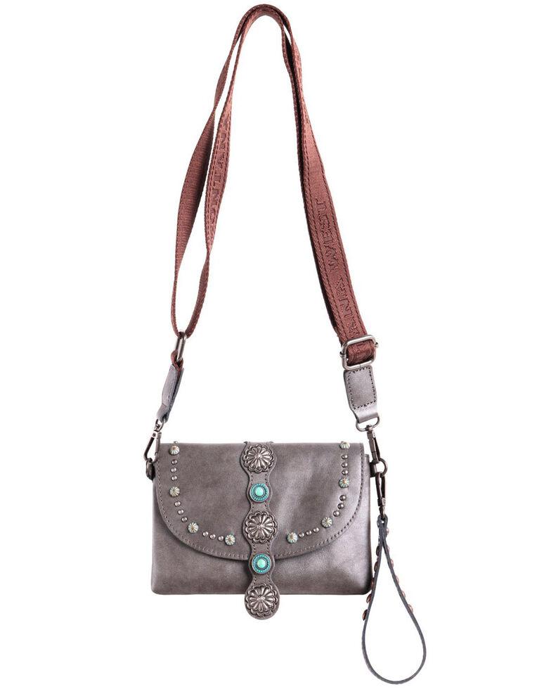 Montana West Women's Concho Crossbody Bag, Grey, hi-res