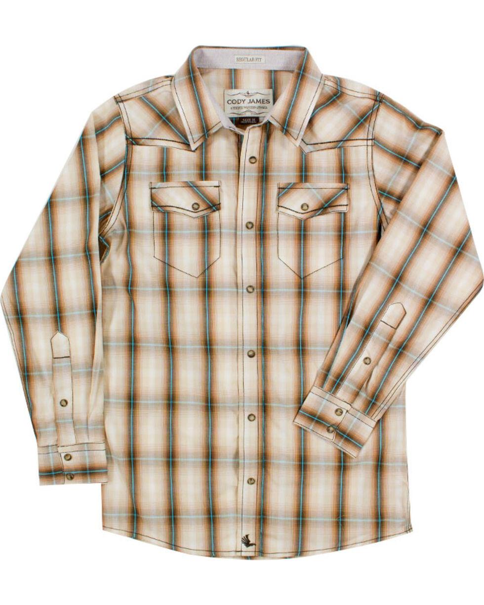 Cody James Boys' Trooper Long Sleeve Plaid Shirt , Brown, hi-res