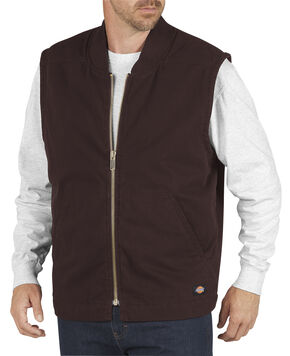 Dickies Men's Quilt Lined Sanded Duck Vest - 3XL, Brown, hi-res