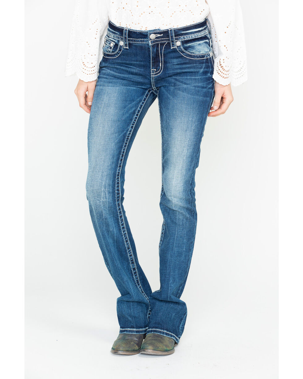 Miss Me Women's Beaded Yoke Embroidered Boot Cut Jeans , Blue, hi-res