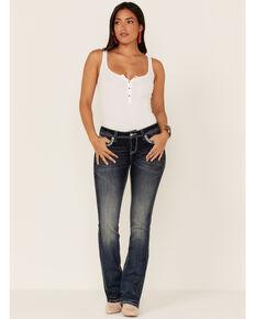 Grace in LA Women's Dark Wash Cross Pocket Mid Rise Bootcut Jeans , Blue, hi-res