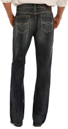 "Rock & Roll Cowboy Men's Indigo Double Barrel ""A"" Embroidery Jeans - Boot Cut, Indigo, hi-res"