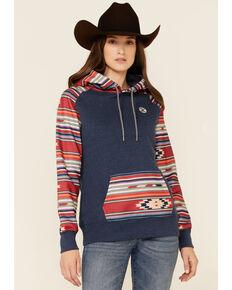 HOOey Women's Navy & Red Aztec Stripe Pullover Hoodie , Navy, hi-res