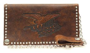 Nocona Nailhead Embellished Chain Wallet, Brown, hi-res