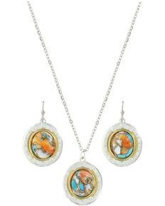 Montana Silversmiths Women's Sweet Memories Mountain Glacier Turquoise Jewelry Set, Silver, hi-res