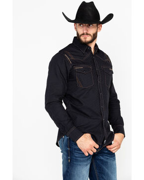 Rock 47 by Wrangler Men's Long Sleeve Western Shirt, Black, hi-res