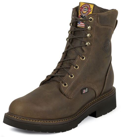 "Justin Men's J-Max 8"" Balusters Rugged Bay EH Lace-Up Work Boots - Steel Toe, Brown, hi-res"