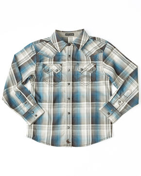Cody James Toddler Boys' Maderas Large Plaid Long Sleeve Western Shirt , Blue, hi-res