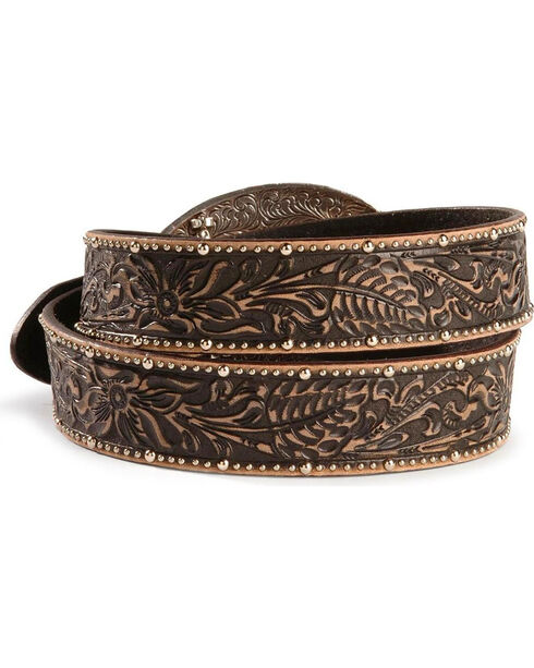 Tony Lama Ghost of Tombstone Leather Belt - Reg & Big, Black, hi-res