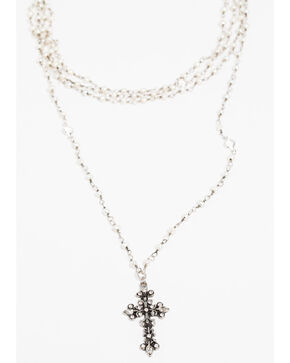 Shyanne Women's Crystal Cross Small Pearl Rosary Necklace Set, Silver, hi-res
