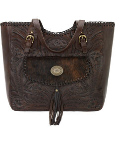 American West Chestnut Brown Annie's Secret Collection Large Zip Top Tote with Secret Compartment, Brown, hi-res
