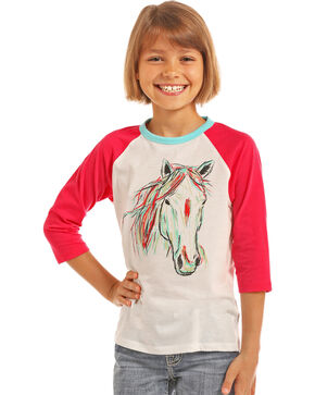 Rock & Roll Cowgirl Girls' Hand Painted Horse Baseball Tee, Pink, hi-res