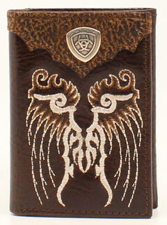 Ariat Trifold Embroidered Shield Wallet, Brown, hi-res