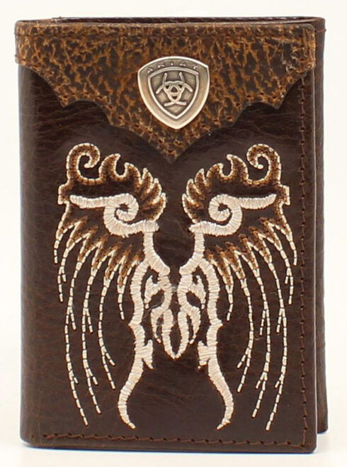 Ariat Trifold Embroidered Shield Wallet, , hi-res