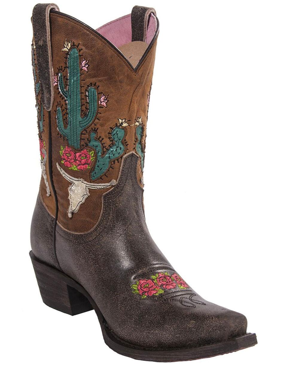 Junk Gypsy by Lane Light Brown Bramble Rose Western Boots - Snip Toe , Brown, hi-res
