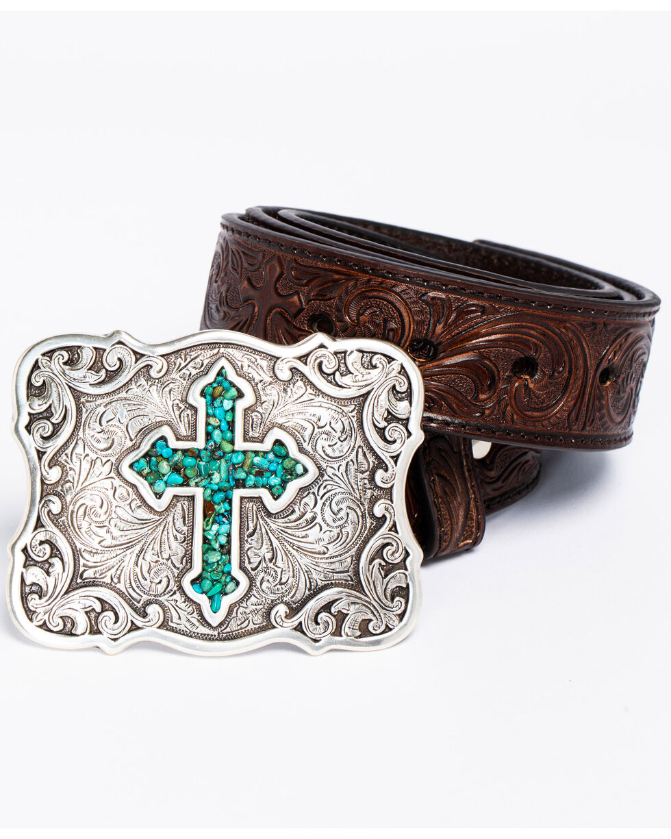 Blazin Roxx Diamond Cross Concho Belt, Brown, hi-res