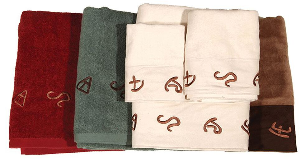 HiEnd Accents Three-Piece Embroidered Branding Symbols Bath Towel Set - Red, Red, hi-res