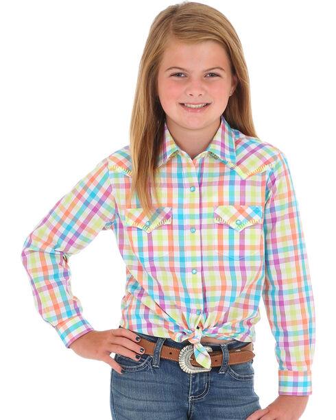 Wrangler Girls' Colorful Plaid Western Shirt , Multi, hi-res