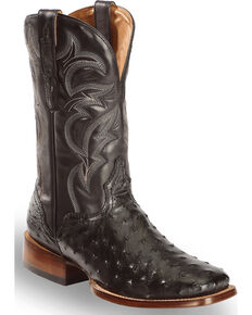 El Dorado Men's Handmade Full Quill Ostrich Stockman Boots - Square Toe, Black, hi-res