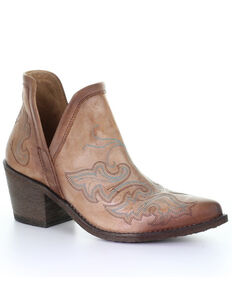 Circle G by Corral Women's Cognac Embroidery Fashion Booties - Round Toe, Brown, hi-res