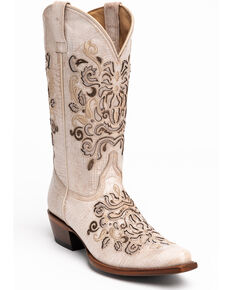 Shyanne Women's Natalie Western Boots - Snip Toe, Ivory, hi-res