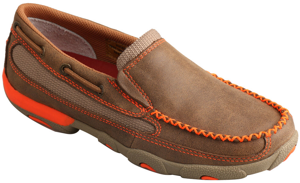 Twisted X Women's Brown & Orange Slip-On Driving Mocs , Brown, hi-res