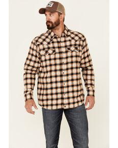 Moonshine Spirit Men's Sundance Aztec Plaid Long Sleeve Snap Western Flannel Shirt , Cream, hi-res