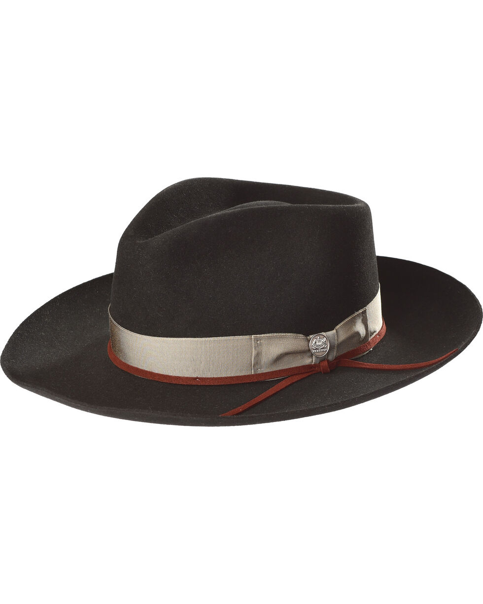 Stetson Men's Wynwood Soft Felt Fedora, Black, hi-res