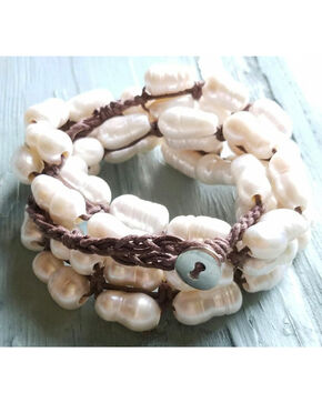 Jewelry Junkie Women's Woven Freshwater Pear Bracelet , Ivory, hi-res