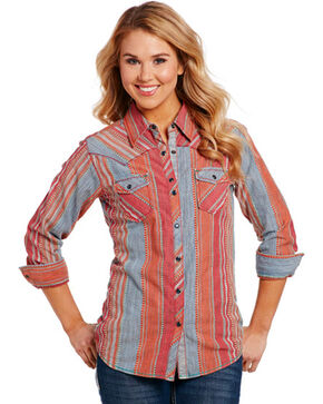 Cowgirl Up Women's Red Serape Pattern Shirt , Red, hi-res