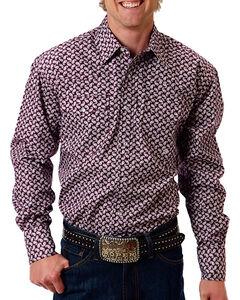 Roper Men's Mini Paisley Long Sleeve Shirt, Purple, hi-res