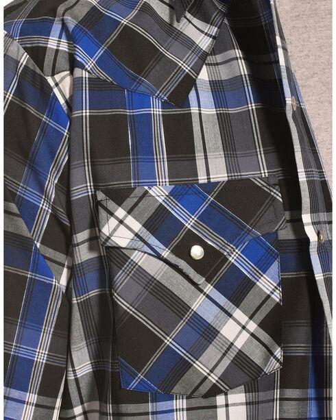 Ely Cattleman Men's Blue Lurex Plaid Shirt , Indigo, hi-res