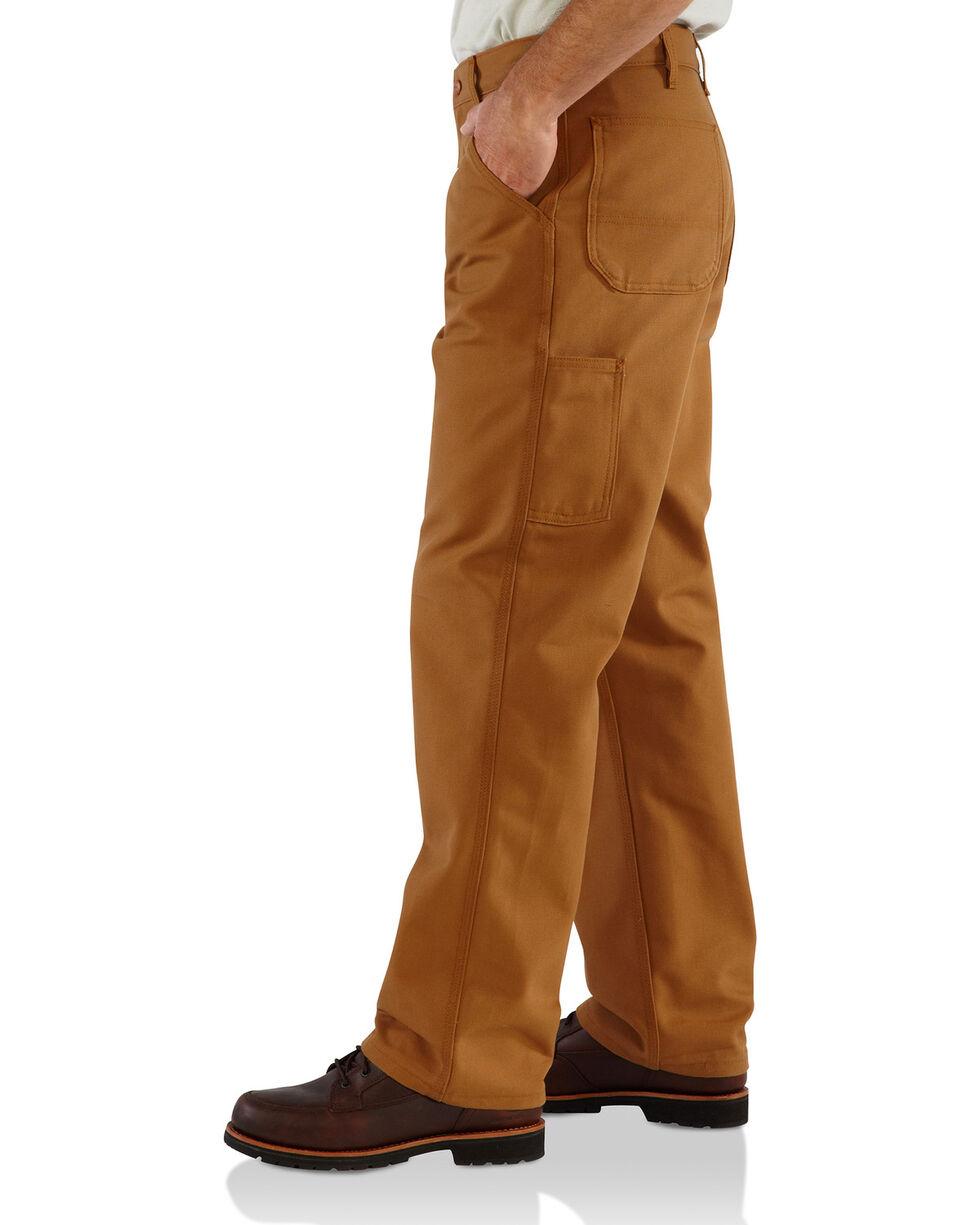Carhartt Men's Flame-Resistant Duck Work Dungarees - Straight Leg , Brown, hi-res