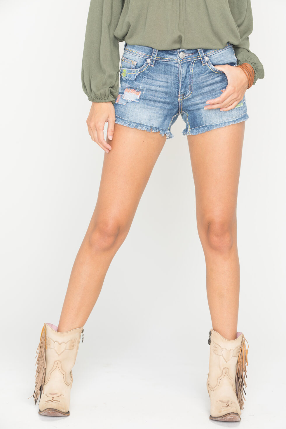 Grace in LA Patchwork Cutoff Shorts, Denim, hi-res
