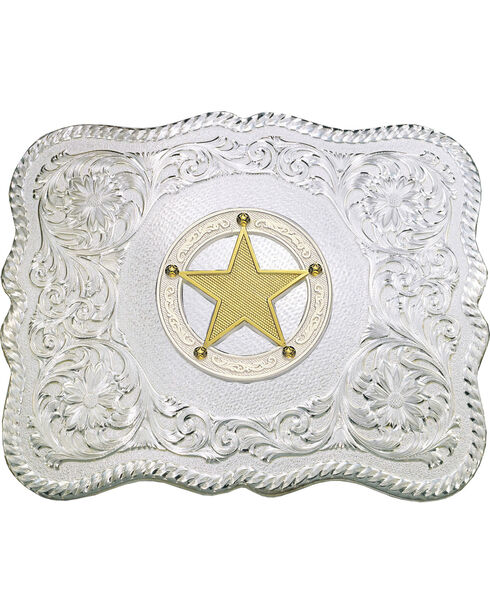 Montana Silversmiths Gold-Tone Star & Scroll Buckle, Silver, hi-res