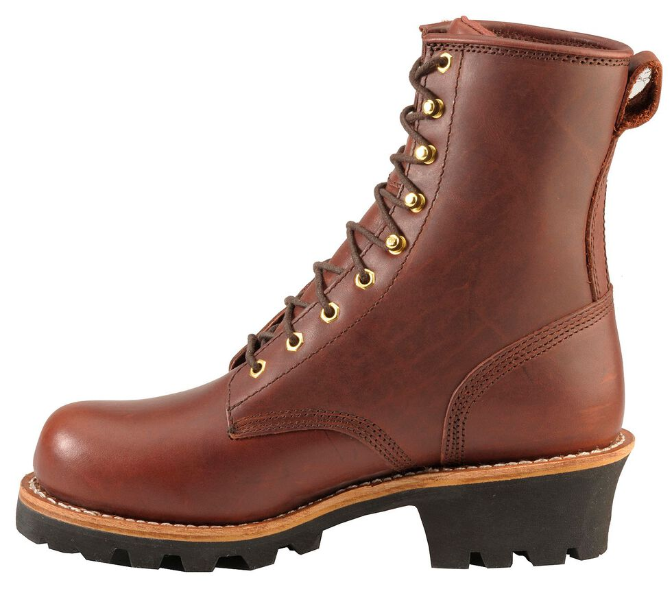 "Chippewa Insulated 8"" Lace-Up Logger Boots - Steel Toe, Redwood, hi-res"