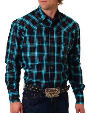Roper Men's Black Plaid Long Sleeve Shirt, Black, hi-res