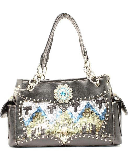 Blazin Roxx Sequin Chevron Satchel, Black, hi-res