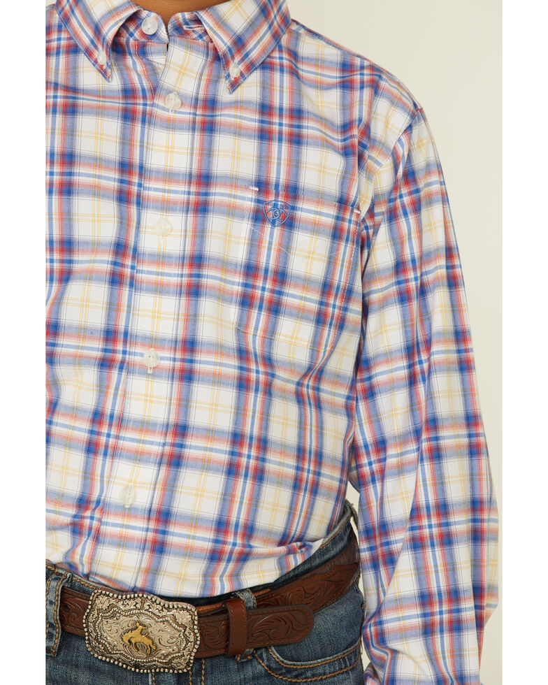 Ariat Boys' Boston Plaid Long Sleeve Button-Down Western Shirt , White, hi-res