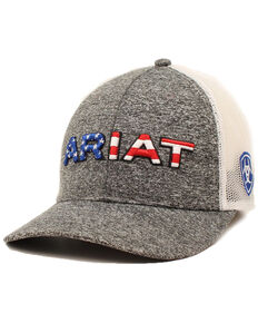 Ariat Men's Textured Grey American Flag Logo Mesh Cap , Grey, hi-res