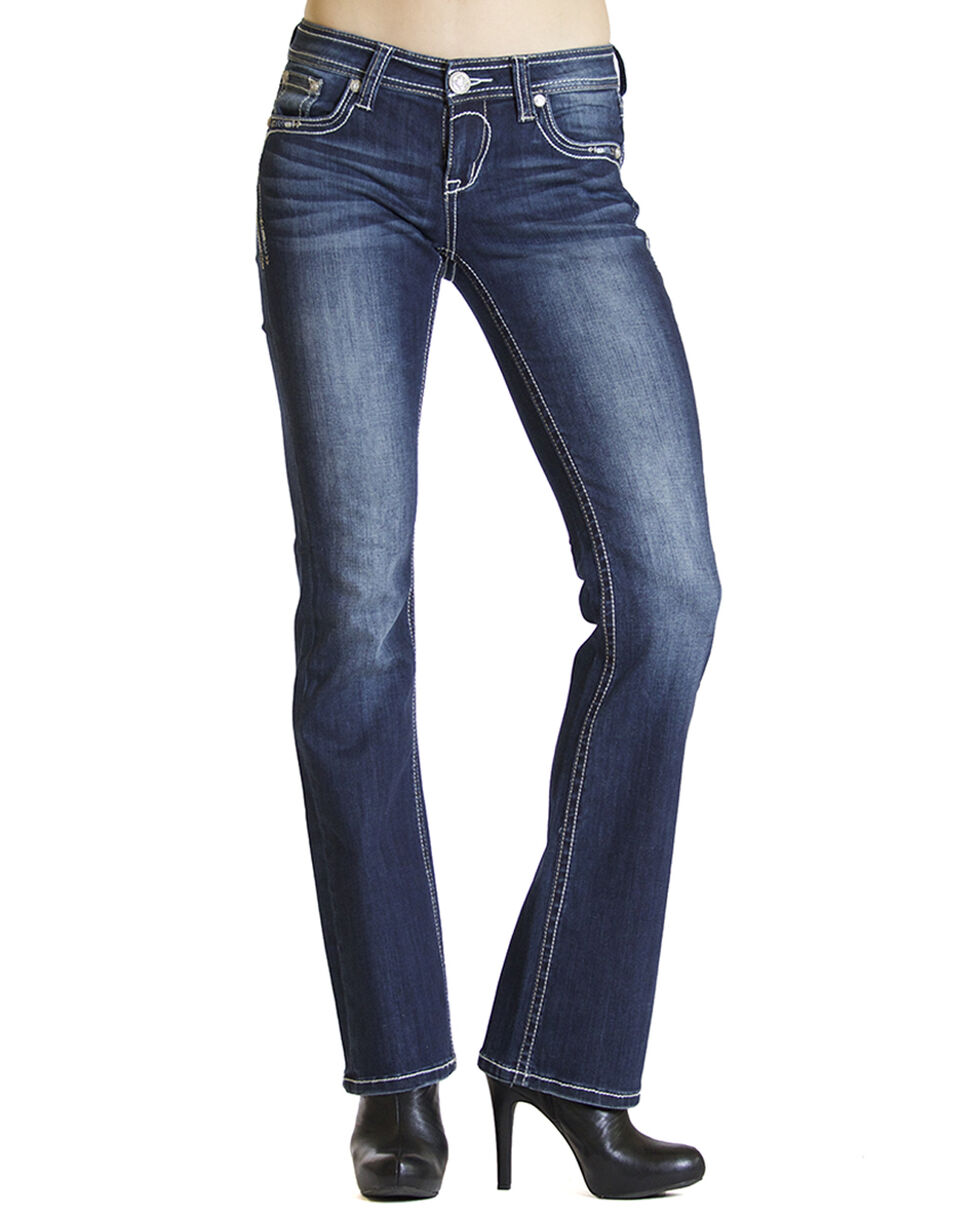 Grace in LA Dakota Dark Wash Bootcut Jeans , Indigo, hi-res