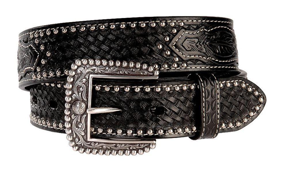 Ariat Brown Sands Studded & Embossed Leather Belt - Reg & Big, Black, hi-res