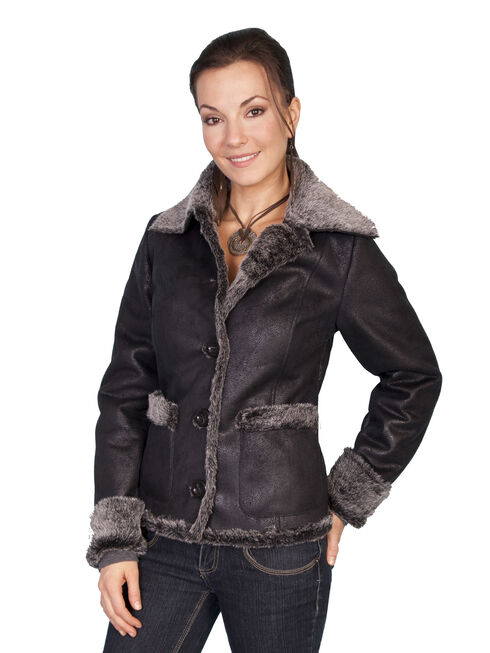Scully Faux Fur Trim Jacket, Charcoal Grey, hi-res