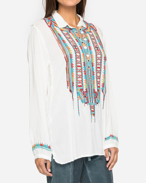 Johnny Was Women's Astry Rayon Blouse, White, hi-res