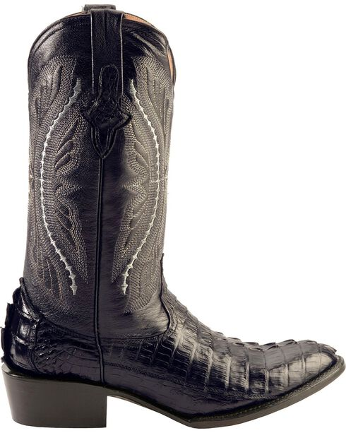 Ferrini Caiman Tail Cowboy Boots - Round Toe, Black, hi-res