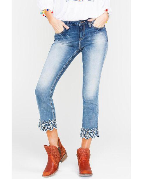 Miss Me Women's Indigo Luxe Life Crop Jeans - Boot Cut , Indigo, hi-res