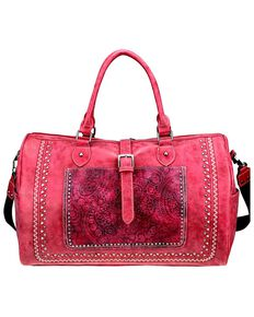 Montana West Women's Bella Buckle Duffle Bag, Red, hi-res