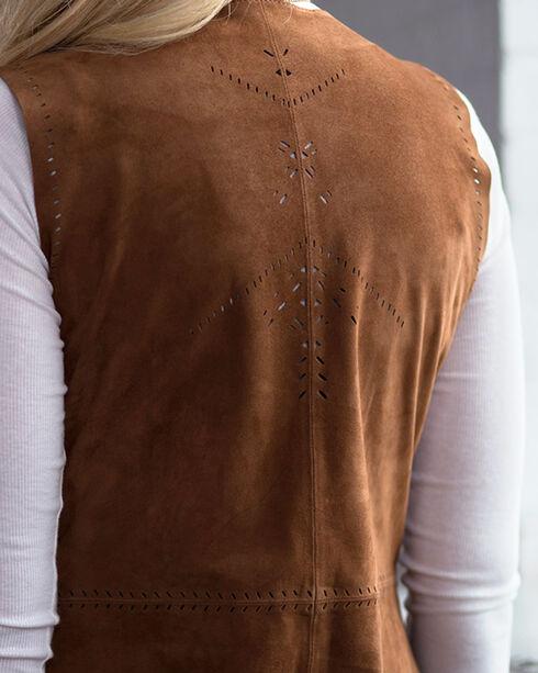 Ryan Michael Women's Long Leather Fringe Vest, Cognac, hi-res