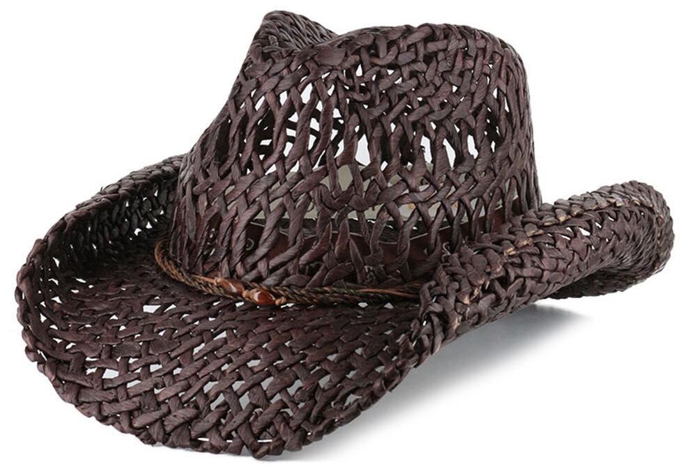 Shyanne Women's Ford Loose Weave Straw Hat, Dark Brown, hi-res