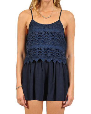 HYFVE Women's Crochet Lace Romper, Navy, hi-res